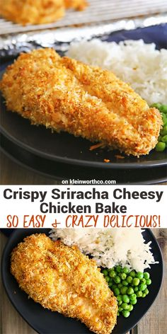 Crispy Sriracha Cheesy Chicken Bake is juicy chicken breast coated in cheesy sriracha spread, crunchy panko & baked for an easy family dinner everyone loves! via @KleinworthCo