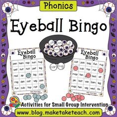 Add a little holiday spirit into your small group instruction with the Eyeball Bingo game for learning and practicing CVC words. When you download this activity you will receive six Halloween themed game boards. For more teaching ideas and activities be sure to visit our