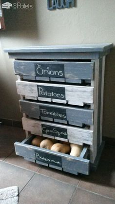 #Kitchen, #PalletCabinet, #RepurposedPallet, #Storage Made this 5 Draw Veggie / Fruit Storage Rack for my wife out of 2 x 1,580mm deconstructed pallets. Height 800mm, 580mm Depth. Painted Grey & White then gave it a distressed/rustic look with a belt sander.