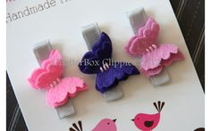 Baby Hair Clips Petite Butterflies in Purple Wool Felt Baby Alligator Clips Infant Toddler Girls. $9,99, via Etsy.