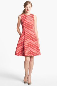 talbots pink fit and flare dress 2013 | ... Cory Dot Jacquard Fit Flare Dress in Red (Pink/ Maraschino) - Lyst