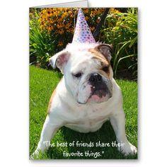 Bulldog Birthday Party Card