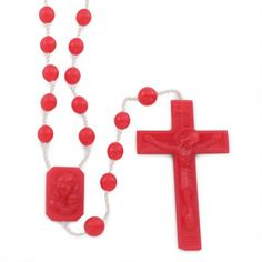 Red Plastic Beads Rosary with string, Madonna & Child plastic center and Crucifix.  Made in Italy!