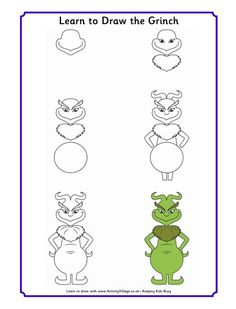 Learn to draw Grinch and other Dr. Seuss characters! Great way to help children develop focus and the ability to follow directions. Free!