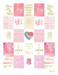 Planner & Journaling Printables ❤ Free Printable Pink and Gold Planner Stickers