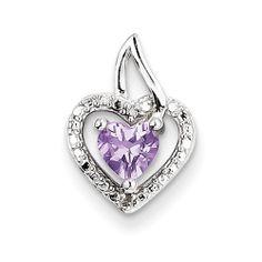 Sterling Silver Pink Amethyst Diamond Pendant