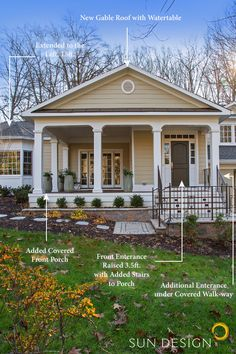 Tuscan Columns, Raised Front Door, and an Addition for this Split-level Home Transformation. Tuscan Column, Front Yard Design, Sun Designs, House Goals, Rental Property, Curb Appeal, Custom Homes, Home Remodeling, New Homes