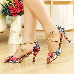 Customizable Women's Dance Shoes Latin/Ballroom Leatherette Customized Heel Black/Fuchsia – USD $ 29.99