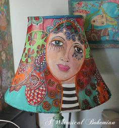 All Time Best Cool Ideas: Colorful Lamp Shades Inspiration lamp shades kids little girls.Small Lamp Shades Window Treatments unique lamp shades how to make. Whimsical Painted Furniture, Painted Chairs, Hand Painted Furniture, Funky Furniture, Paint Furniture, Painted Lampshade, Painting Lamp Shades, Painting Lamps, Origami Lamps