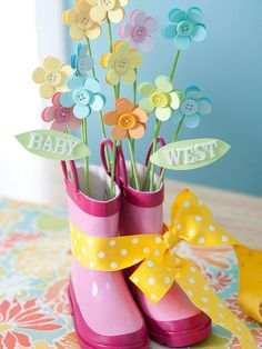 """If I end up having a baby due in May I want a baby shower in April themed """"April Showers Bring May Flowers"""" and this would be perfect! or Snow Boots for a winter shower with snowflakes and a winter scarf and hat :) Diy Baby Shower Decorations, Baby Shower Centerpieces, Baby Shower Favors, Baby Shower Themes, Baby Shower Gifts, Baby Gifts, Shower Ideas, Bridal Shower, Kids Gifts"""
