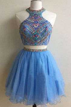 Light blue organza two pieces beading sequins A-line short dresses for teens,party dresses by prom dresses, $163.00 USD