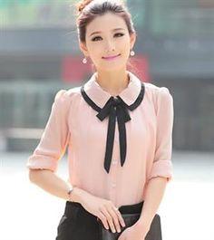 Korean Fashion Doll Collar Pink Chiffon Blouse