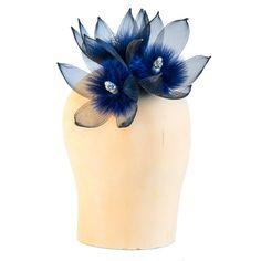 Three black/blue crin/fur flowers cocktail hat/fascinator/headpiece... (€160) ❤ liked on Polyvore featuring accessories, hair accessories, hair fascinators, blue hair accessories, hair extension accessories, flower hair accessories and fascinator hat