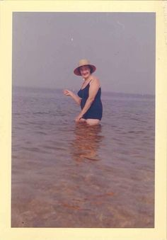 Old Vintage Photograph Woman in Big Hat & Bathing Suit Standing in Water 1961