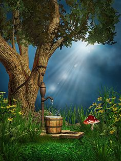 magic forest background barrel, Magic, Forest, Casks, Background image