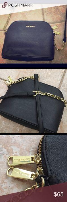 9218c0ae69a STEVE MADDEN Black Crossbody Gold Purse Handbag STEVE MADDEN Barely ever  worn, black, crossbody