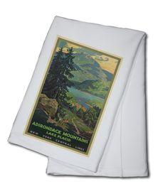 Towel (New York Central Lines - Adirondack Mountains - (artist: Greene, Walter L. c. 192) - Vintage Poster)