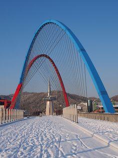 Expo Bridge in winter - Daejeon, South Korea South Korea Travel, North Korea, Places Around The World, Around The Worlds, South Korean Won, South Korea Photography, Korea Winter, Cities In Korea, Living In Korea