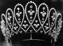 "Queen Mary's Diamond Loop Tiara; c. 1902, created by Boucheron when she and the future George V were elevated to the titles of ""Prince and Princess of Wales"" upon the ascension of Edward VII and Queen Alexandra."