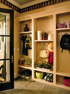 Shedding the Outside- This room is usually the first stop in the home. A mudroom provides a small pit-stop for the kids and adults alike to shed their outside clothes and bags before all other indoor activities begin. Site-built open-front lockers provide space