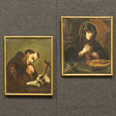 """Price: 1200€ Ancient pair of French paintings of the 18th century. Works oil on canvas depicting the subject of sacred art """"Madonna"""" and """"St. Francis"""". Paintings fitted with wooden frames of the 19th century. Works rich in details of great intensity in the first canvas. They present different signs of aging, small tears and holes (see photo). Given the times, on the whole in a fair state of conservation. #antiques #antiquariato Visit our website www.parino.it"""