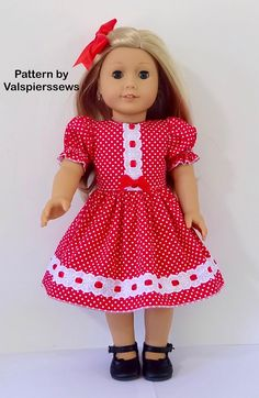 1804 The Dress Combo, Lined Bodice and Unlined Bodice, Valspierssews Doll Clothes Pattern, Easy to Sew, Fits Popular Dolls American Girl Dress, American Doll Clothes, Ag Doll Clothes, Doll Clothes Patterns, Clothing Patterns, Crochet Doll Clothes, American Girls, Sewing Patterns, Baby Born Clothes