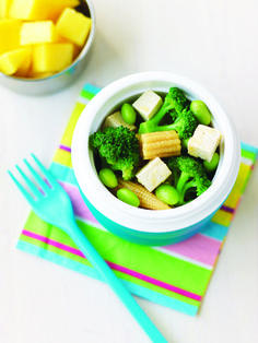 Makes:to servings  Ingredients extra firm tofu, in chunks baby corn raw or cooked broccoli florets frozen edamame or peas Japanese-style dressing (s