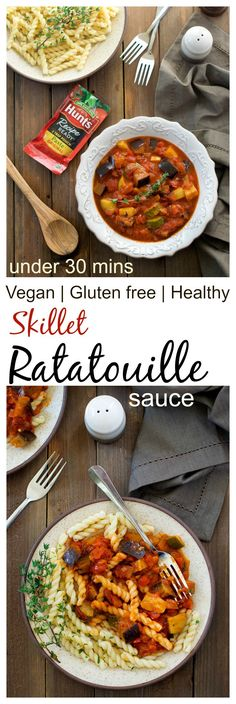 skillet ratatouille sauce makes a great addition to dinner. Full of veggies and flavors this recipe comes together under 30 minutes. It is #vegan #glutenfree #vegetarian