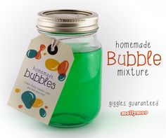 Ingredients and recipe for making homemade bubble mix with glycerine, giggles guaranteed. Free download for Bubble Mix Gift Tag - perfect gift for fun loving kids