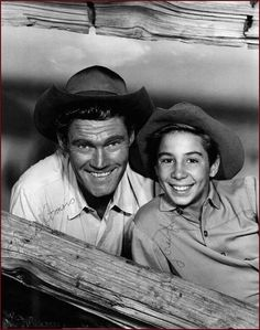 Chuck Connors and Johnny Crawford