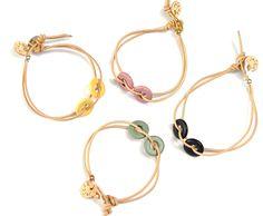 Circles & Leather bracelet