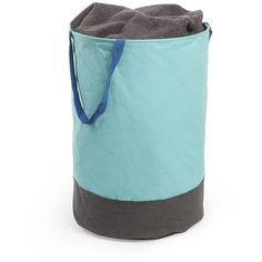 Umbra Crunch Large Round Bin - Surf / Charcoal (40 CAD) ❤ liked on Polyvore featuring home, home decor, small item storage, blue, round storage basket, blue bin, blue home decor and blue storage baskets
