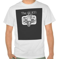 "the Alien Black & White Style 2    Remember you can ""Customize"" your own Text on this shirt http://www.zazzle.com/teeshirtsplenty?rf=238806092629186307"