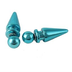 Turquoise Spike Earrings✨9 available✨ Cute turquoise bullet/spike earrings. The metal part that goes through the ear is zinc alloy. These are for normal pierced ears. They are not gauged. New in package. The black one is just an example of what they look like on. Jewelry Earrings