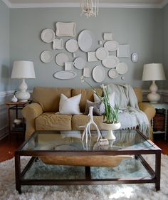 velte Sage SW 6164 in her Media Room and Comfort Gray SW 6205 in her Master Bedroom. *Svelte Sage SW 6164 *Sea Salt SW 6204 *Comfort Gray SW 6205 *Oyster Bay SW 6206 (for accent walls) Plate Wall Decor, Plates On Wall, Hanging Plates, Painted Plates, Sherwin Williams Comfort Gray, Inspiration Wand, Color Inspiration, Sofa Inspiration, Favorite Paint Colors