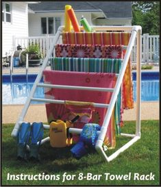 Terrific Creative DIY Towel Rack for your backyard pool! The post Creative DIY Towel Rack for your backyard pool!… appeared first on Feste Home Deco . Towel Rack Pool, Pool Towels, Towel Racks, Drying Racks, Swimming Towels, Do It Yourself Furniture, Do It Yourself Home, Outdoor Projects, Home Projects