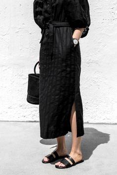 Sometimes all you need is black.  Black circle tote, black silk slip, black leather slide sandals.