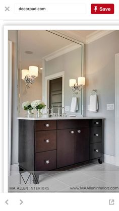 Mirror MA Allen Interiors: Stunning Bathroom With Espresso Cabinets Paired  With Carrara Marble Countertop And .
