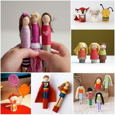15 Handmade Pocket Dolls. You can use clothespins with kids to create build a family, friends, favorite super heroes, etc.