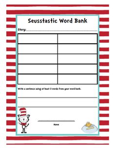 """From TEACH123 - FREE word bank worksheet which is part of the tech connection assignment.  This """"Read Across America"""" unit is packed with too many activities to do in one day. It's a week's worth of fun!"""