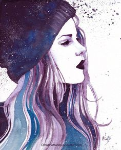 Imagen de girl, drawing, and wallpaper Galaxy Images, Galaxy Pictures, Anime Galaxy, Galaxy Art, We Heart It Dibujos, Beautiful Drawings, Cool Drawings, Galaxy Drawings, Girls Heart