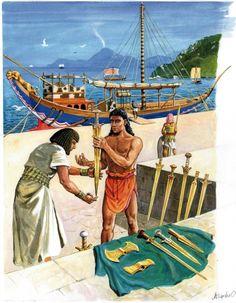 Odtworzenie antycznego portu na wyspie Thera (obecnie Santorini), na pierwszym planie sprzedawca mieczy i toporów oferuje swój towar przybyszowi