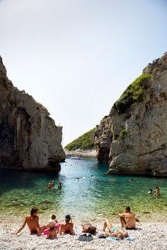 Stiniva Cove beach on the island of Vis, Croatia