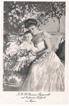 Crownprincess Marie Gabrielle of Bavaria and son Prince Luitpold.