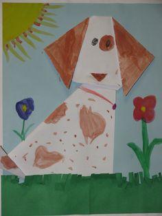 Kindergarten origami dog; art teacher: Susan Joe