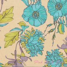 Tina Givens Haven's Edge Voile The Garden Turquoise- Voile