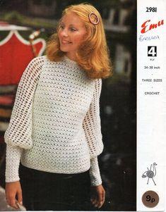 981b24d29d2a vintage womens crochet top CROCHET PATTERN pdf ladies crochet blouse sweater  34-38