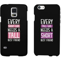 BFF Phone Cases Tall and Short Best Friend Phone Covers for iphone 4,... ($18) ❤ liked on Polyvore featuring accessories, tech accessories, phone cases, phone, cases, electronics, iphone cases, iphone cover case, galaxy smartphone and galaxy iphone case