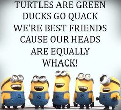 Love the minions! This reminds me of my truest, oldest, dearest friend of mine and me ❤ were weird, but together, we're whacky, but i love her always. .  LOVE YA NICOLE