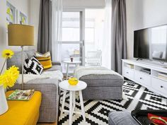 Vivacious Malaga Apartment Design With IKEA Furniture And Juicy Accents Small Living Rooms, Home Living Room, Living Room Designs, Living Room Decor, Grey And Yellow Living Room, Ikea Furniture, Malaga, Apartment Design, Interior Design